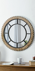 round gear mirror