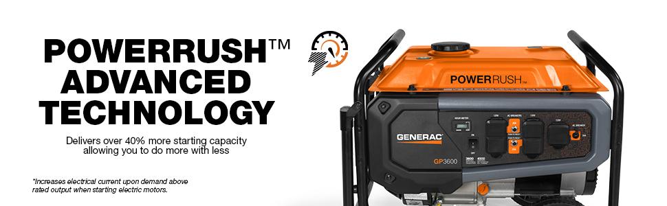 Generac, GP3600, Portable, Generator, PowerRush