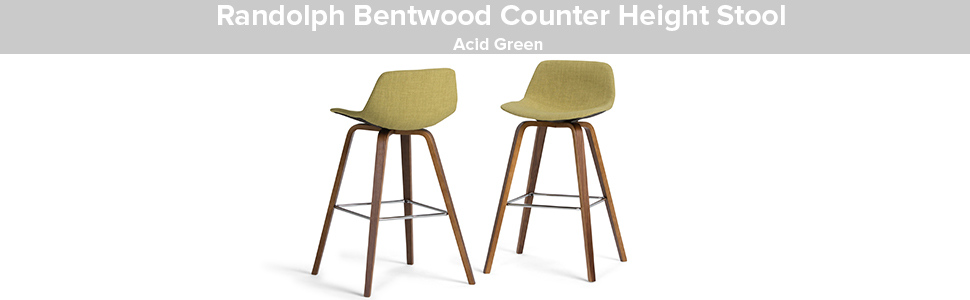 Simplihome Randolph Mid Century Modern Bentwood Counter Height Stool Set Of 2 In Acid Green Linen Look Fabric Furniture Decor