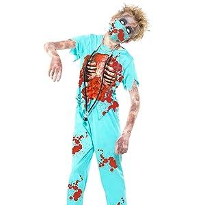 Smiffys Smiffys-38882M Halloween Disfraz de policía Zombi, con ...