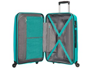 Bon Air; american tourister; suitcase; turquoise; interior; organised
