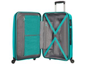 Bon Air; american tourister; suitcase; turquoise; interior; organised maletas 55x40x20