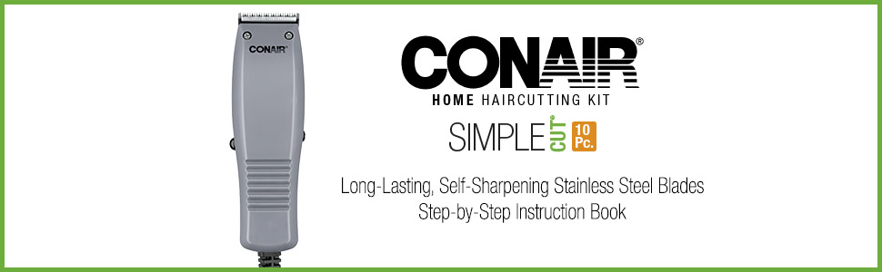 Conair Home Haircutting Kit, Simple Cut 10 pieces, long lasting self sharpening men's clippers