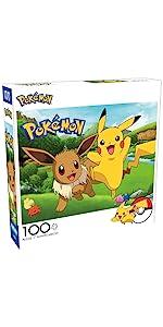 Pokemon - Pikachu & Eevee Spring - 100 Piece Jigsaw Puzzle