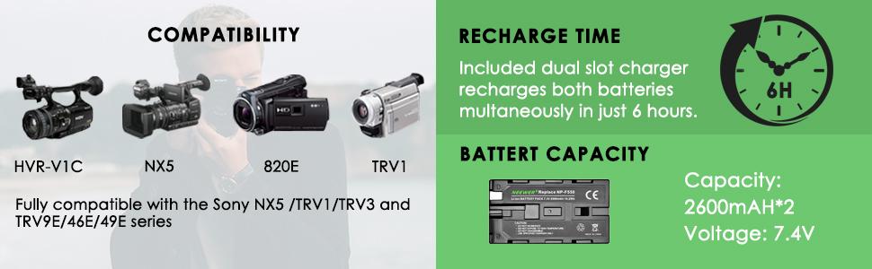 Fot-R NP-F 330 530 570 750 770 960 970 Micro-USB Cargador De Batería Para Sony