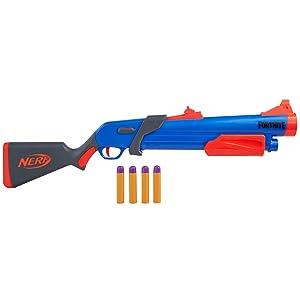 Is The Pump Back On Fortnite Amazon Com Nerf Fortnite Pump Sg Blaster Pump Action Mega Dart Blasting Breech Load 4 Official Mega Darts For Youth Teens Adults Toys Games