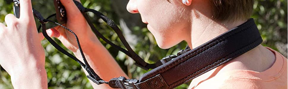 Mirrorless Strap grips your neck with Nonskid Surface and attaches to Canon Powershot, Nikon Coolpix