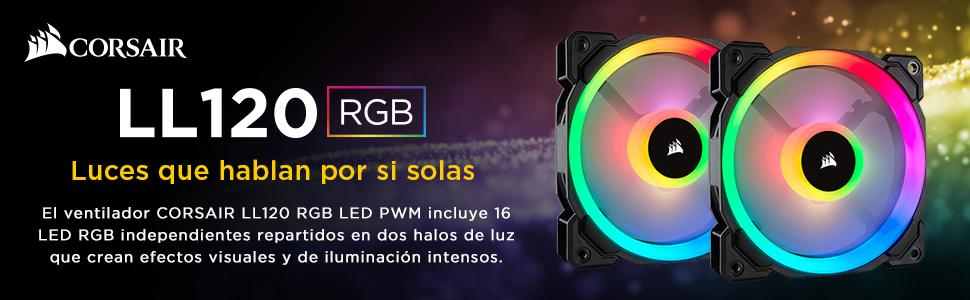Corsair LL120 RGB Ventilador de PC (120 mm, Doble Halo RGB LED PWM ...
