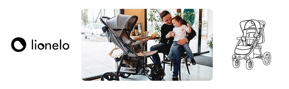 Baby Pushchair Lightweight Travel Stroller Pram Buggy Lionelo Annet Concrete