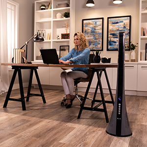 LivePure Blade Tower Fan in offcie