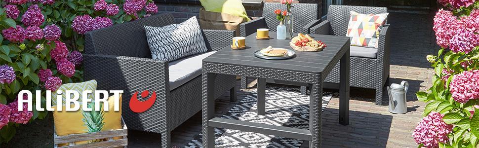 Allibert Lyon Tisch, Graphit, Polyrattan Tisch, Loungetisch Kunststoff Tisch,  Tisch Garten