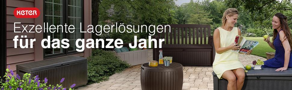 keter gartenbank und kissenbox patio bench braun 227l garten. Black Bedroom Furniture Sets. Home Design Ideas