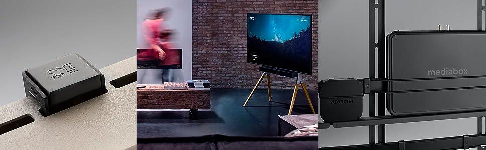 """Soporte de televisor Universal de One For All – Pantallas de 32 a 70"""" – LCD/LED/Plasma/OLED/QLED TVs – VESA 400x400 – Soporte de Barra de Sonido Integrado – Diseño Elegante – WM7482: Amazon.es: Electrónica"""