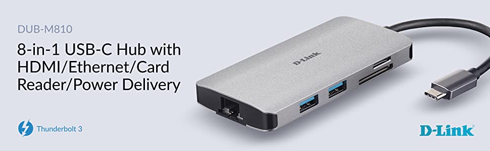 8‑in‑1 USB‑C Hub with HDMI/Ethernet/Card Reader/Power Delivery