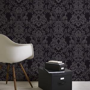 Livingwalls vliesbehang met glitter nieuwe Bude 2.0 Klara behang met ornamenten barok zwart AS