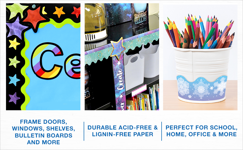 3 examples of how to use borders to decorate a bulletin board, bookcase or pencil cup
