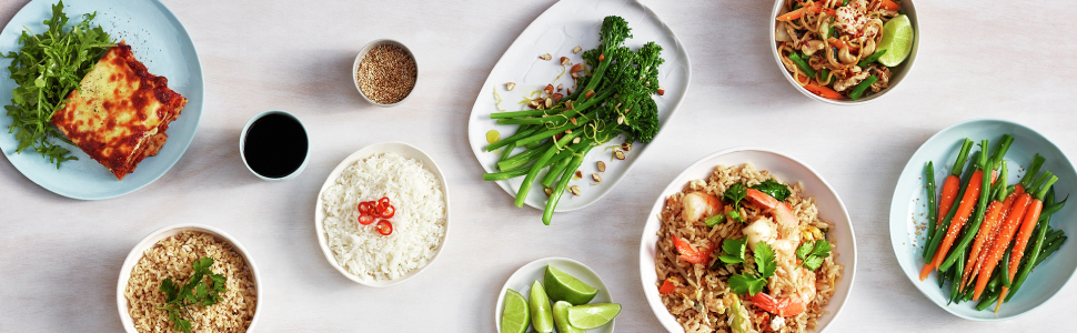 rice dishes, steamed veggies