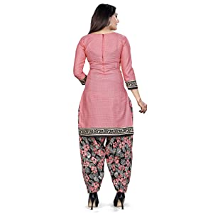Rajnandini Women's Green Cotton Printed Unstitched Salwar Suit Material With Printed Dupatta