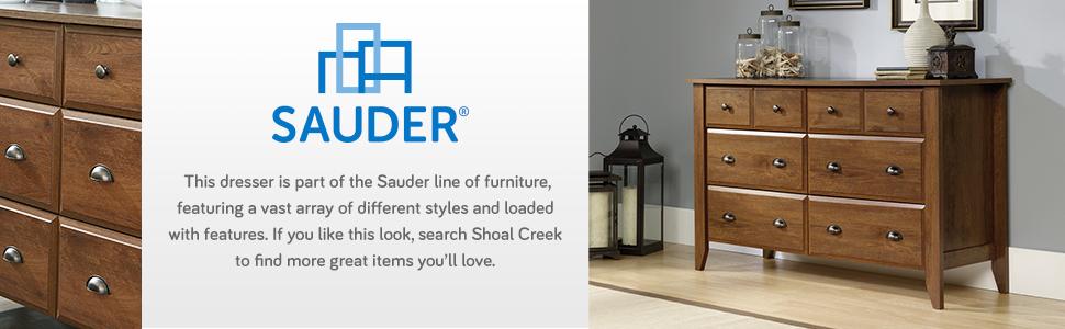 Sauder Shoal Creek Dresser in a Oiled Oak finish