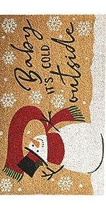 winter doormat, coir mat, snowman doormat, holiday doormat, christmas doormat