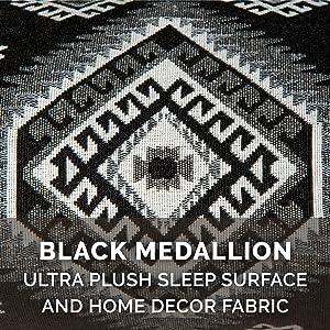 sleep; surface; high pile; plush; faux fur; woven; linen; upholstery; kilim; black; gray; white
