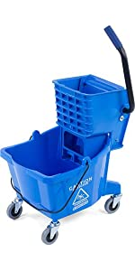 mop bucket, plastic mop bucket, side press mop bucket, 35 quart capacity mop bucket,