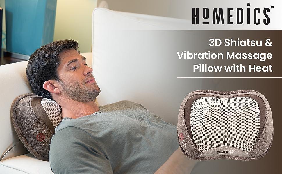 homedics 3d shiatsu vibration massage pillow with heat