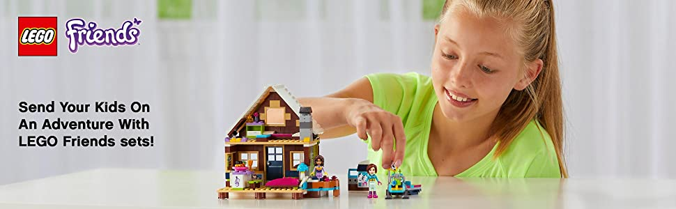 LEGO, building, Interactive play, Friends, Snow Resort , Andrea, Amy, Girls, Chalet