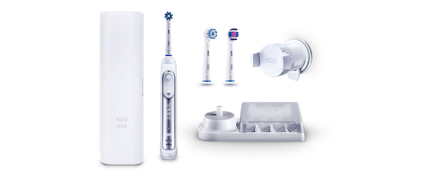 Oral B Genius 8000 CrossAction Electric Toothbrush, 1 Silver App Connected Handle, 5 Modes with Sensitive and Gum Care, Pressure Sensor, 3 Toothbrush