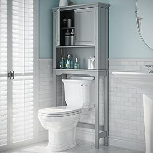 gray over the toilet storage