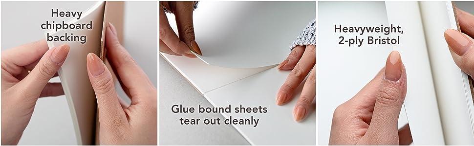 Bristol art pad features heavy chipboard, glue bound sheets. Heavyweight 2-ply bristol
