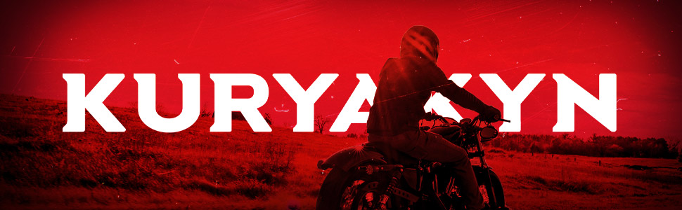 Kuryakyn brand banner with red background and motorcycle rider on bike in front.