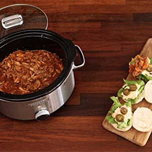 Crock-Pot CSC052X-01 - Olla de cocción lenta digital, 4.7 l, tapa abatible, negro