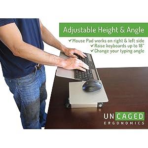ERgonomic Sit Stand Keyboard Tray Negative Tilt Adjustable Height