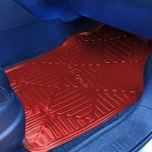 red metallic floor mats cars