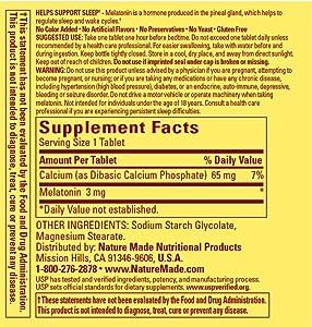 Nature Made Melatonin Supplement Facts