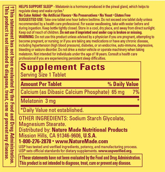 Nature Made Melatonin Supplement Facts