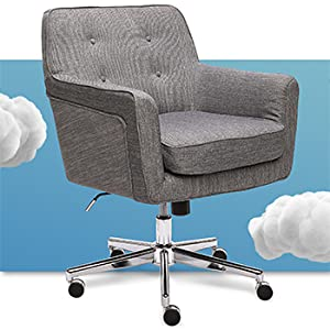 Serta ashland home office chair with silver base button tufted back and memory foam seat cushion