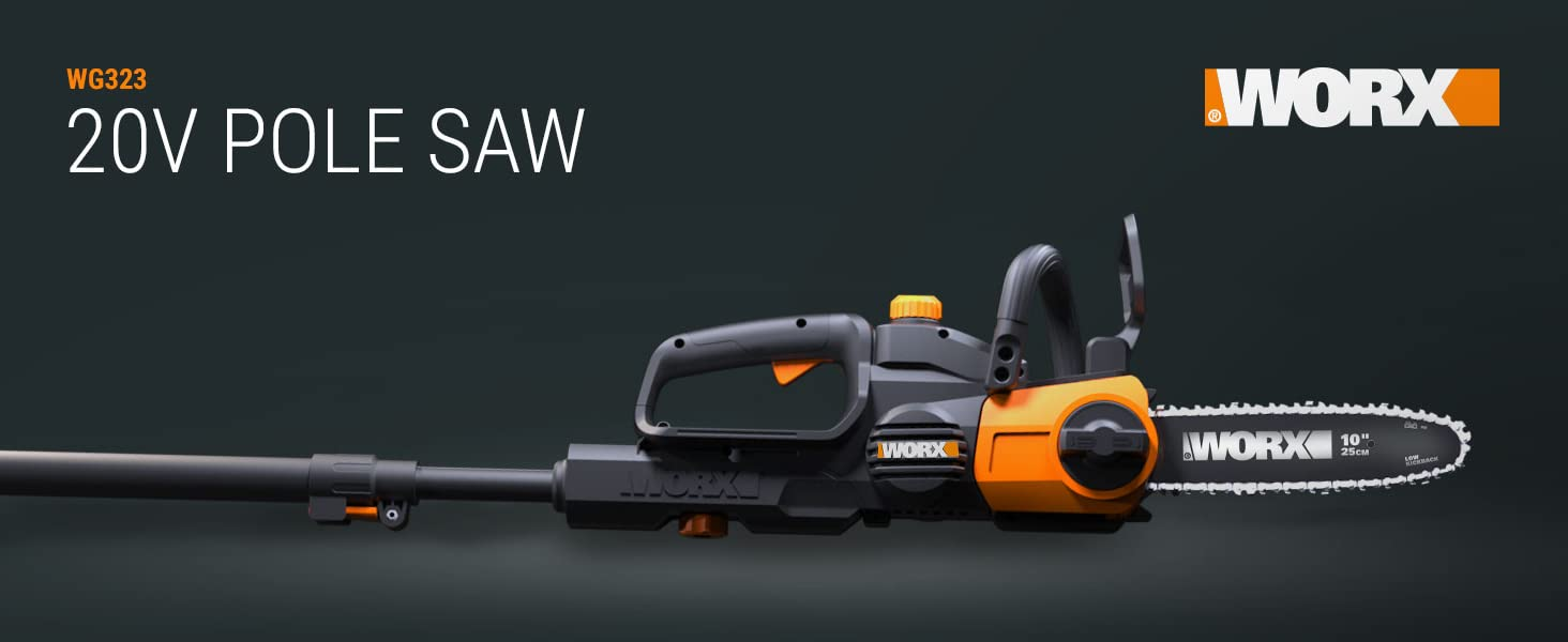 Worx WG323 10-in Cordless 20V Pole/Chainsaw with Auto-Tension and Auto-Oiling and 2 Piece Tube
