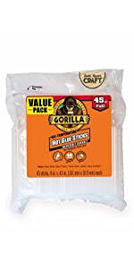 Gorilla full size hot glue gun sticks hi low temp melt