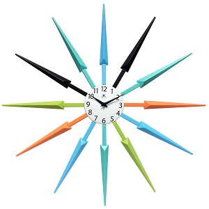 24.5x 24.5x 1.75 Infinity Instruments Midcentury Multicolored Wall Clock