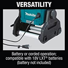 versatility battery or corded operation compatible with 18v lxt batteries not included