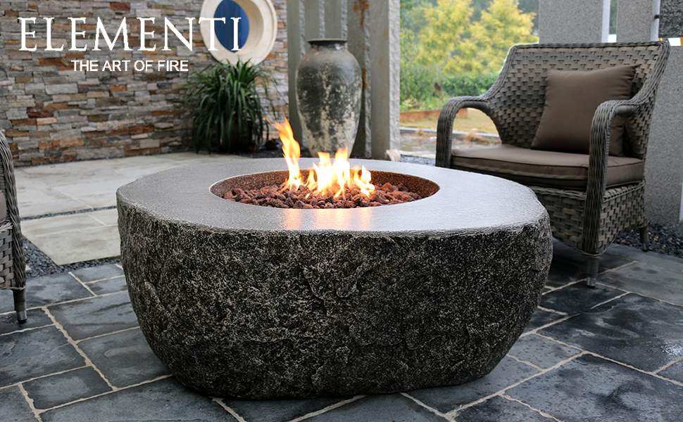 Amazon Com Elementi Fiery Rock Outdoor Fire Pit Table 50 Inches Round Firepit Concrete Patio Heater Electronic Ignition Backyard Fireplace Cover Lava Rock Included Liquid Propane Garden Outdoor