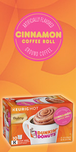 Dunkin Donuts Dunkin Cinnamon Coffee Roll Keurig K-Cup Pods 100% Arabica coffee beans