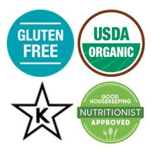 gluten free,organic,kosher,good housekeeping nutritionist approved