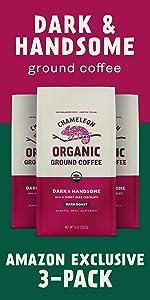 3-Pack Chameleon Organic Dark amp; Handsome Ground Coffee