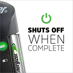 Shuts off when complete, Safety features, fully charged, Batteries Charger, Auto Shut Off
