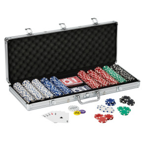 Fat Cat 11.5 Gram Texas Hold em Clay Poker Chip Set with Aluminum Case, 500 Striped Dice Chips
