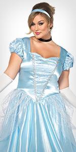 costume, plus size, cinderella, fairytale, dress, headband