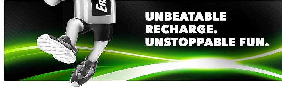 Unbeatable Recharge. Unstoppable Fun. Energizer Recharge. Power Plus